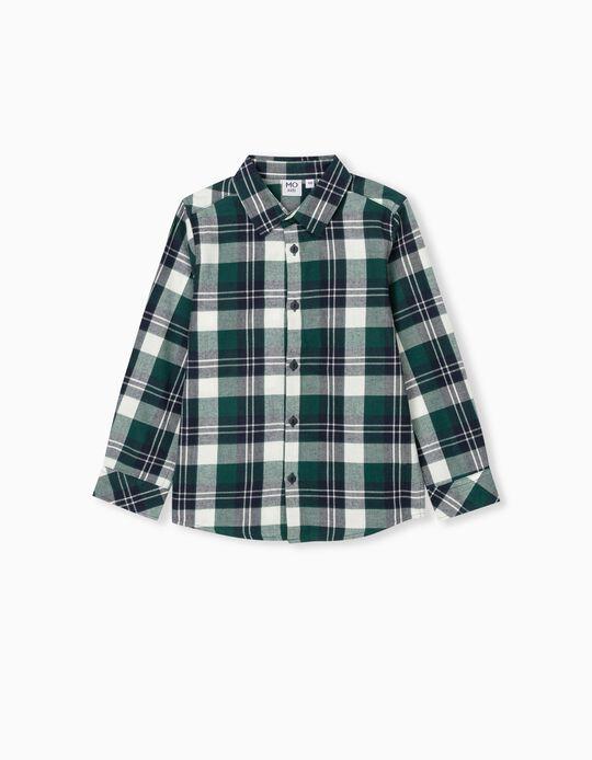 Camisa Quadrados, Criança, Azul/ Verde