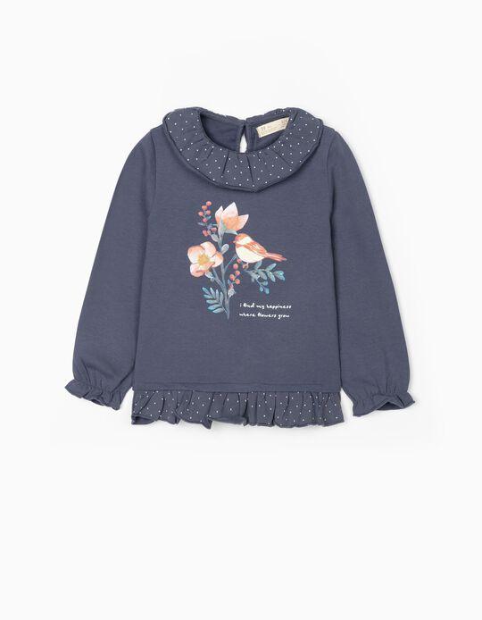 Sweatshirt for Girls 'Happiness', Blue