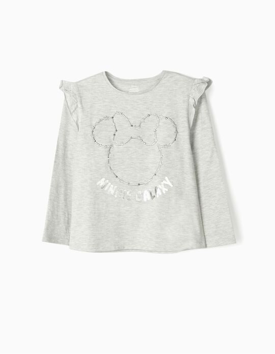 Long Sleeve Top for Girls, 'Minnie Galaxy', Grey