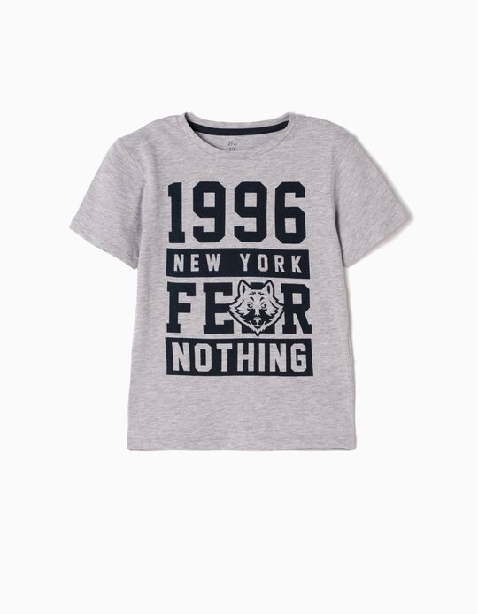 T-shirt Fear Nothing Cinzenta