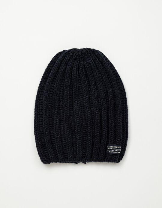 Rib Knit Beanie, Men, Dark Blue