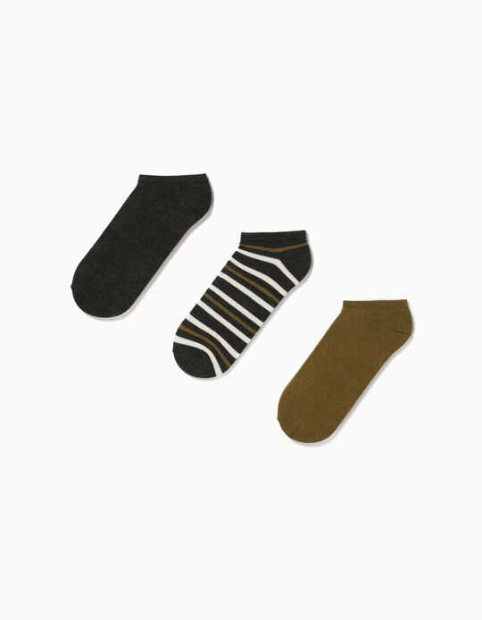 3 Pairs of Trainer Socks, Organic Cotton