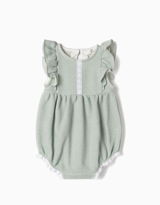 Knit Romper for Newborn Girls, Green