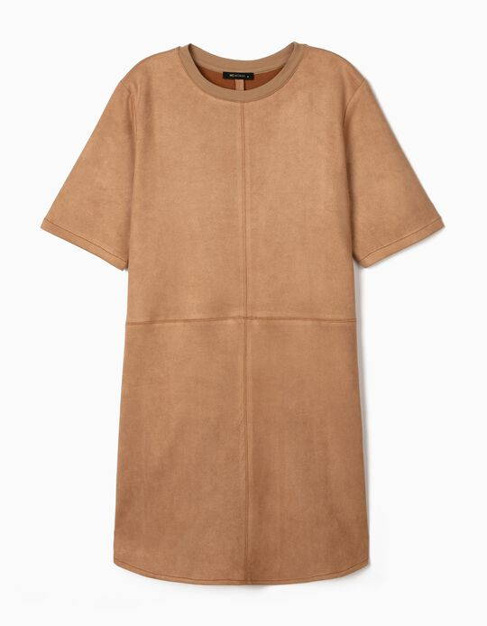 Leather-Effect Dress for Women, Brown
