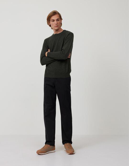 Regular Fit Twill Trousers, Men, Black