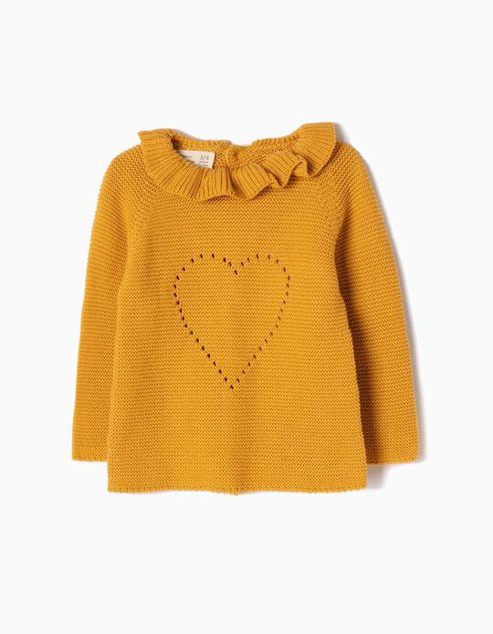 Camisola de Malha Amarela Coração