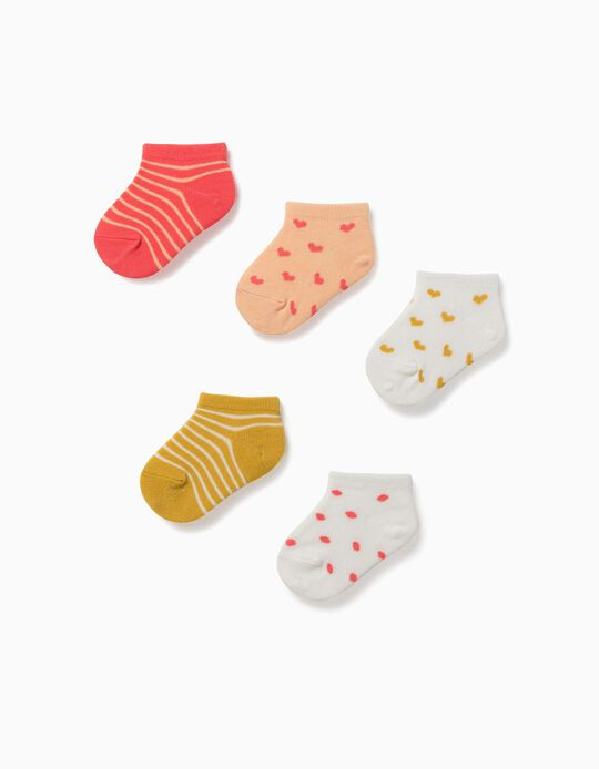 5 Pairs of Ankle Socks for Baby Girls, 'Hearts & Dots', Multicoloured