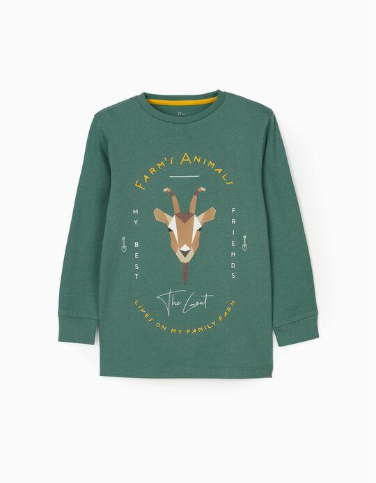 Long Sleeve T-Shirt for Boys 'The Goat', Green
