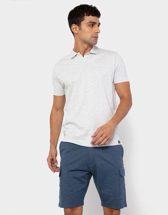 Striped Polo Shirt for Men, White/ Beige