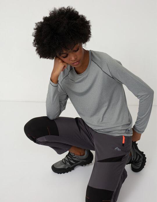 Long Sleeve Techno Trekking Top for Women, Grey