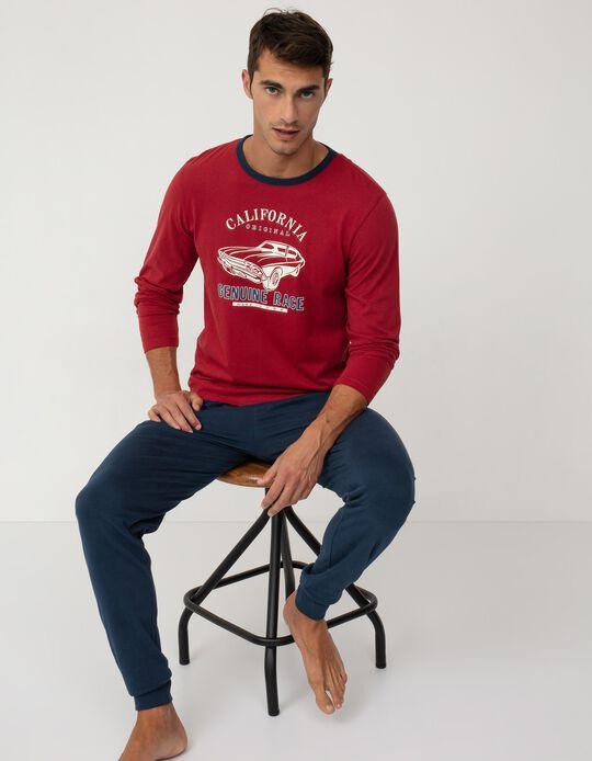 Cotton Pyjamas for Men, Red/ Blue