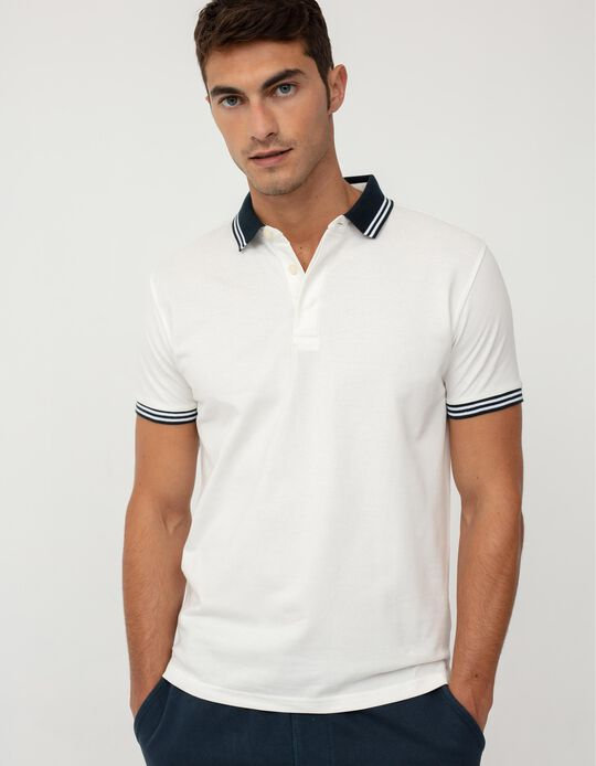 Short Sleeve PiquéKnit Polo Shirt for Men, White