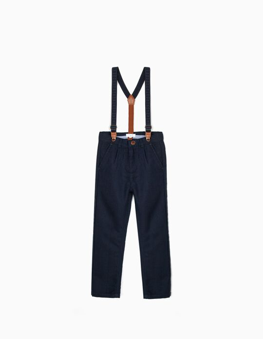 Trousers with Suspenders for Baby Boys 'B&S', Dark Blue