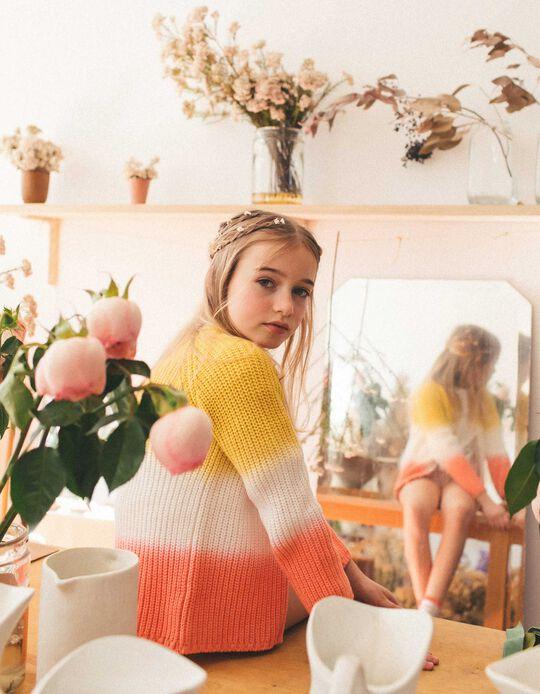 Degradé Knit Cardigan for Girls, Yellow/White/Pink