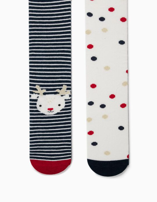 2-Pack Knit Tights for Girls 'Christmas', White/Dark Blue