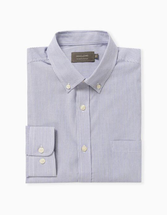 Camisa às Riscas, Homem, Azul