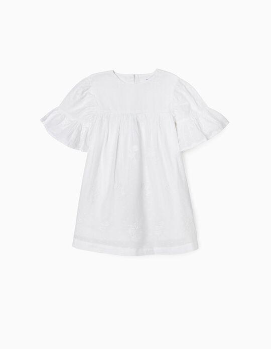 Vestido com Bordados para Menina, Branco