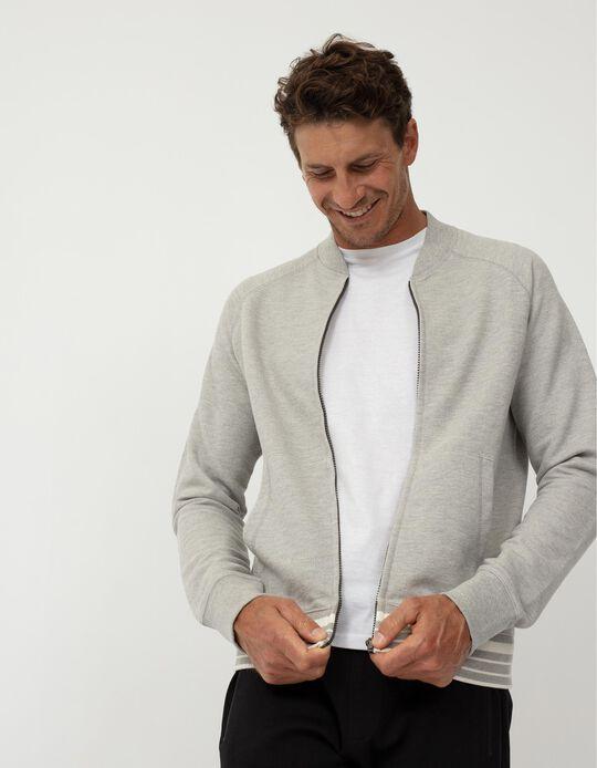 Hooded Fleece Jacket, Men, Grey