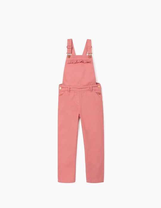 Twill Dungarees for Girls, Pink