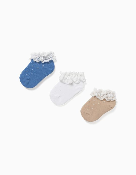 3 Pairs of Socks with Lace for Baby Girls, Blue/White/Beige