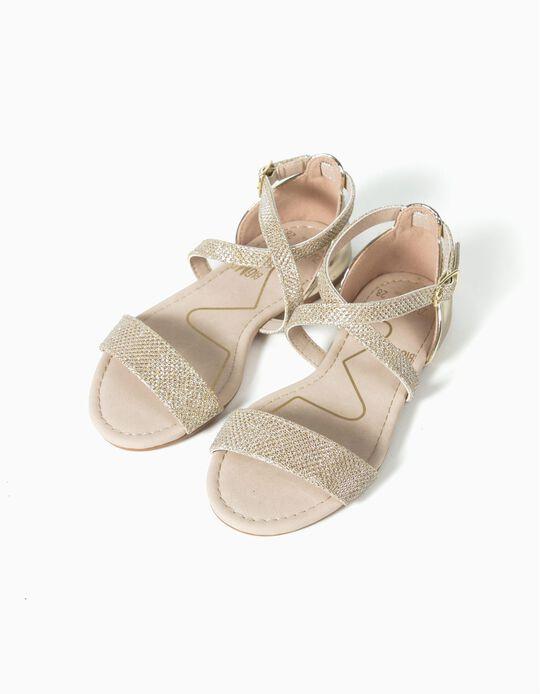 Sandálias tiras douradas