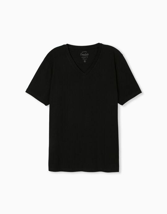 T-shirt Decote em Bico, Homem, Preto