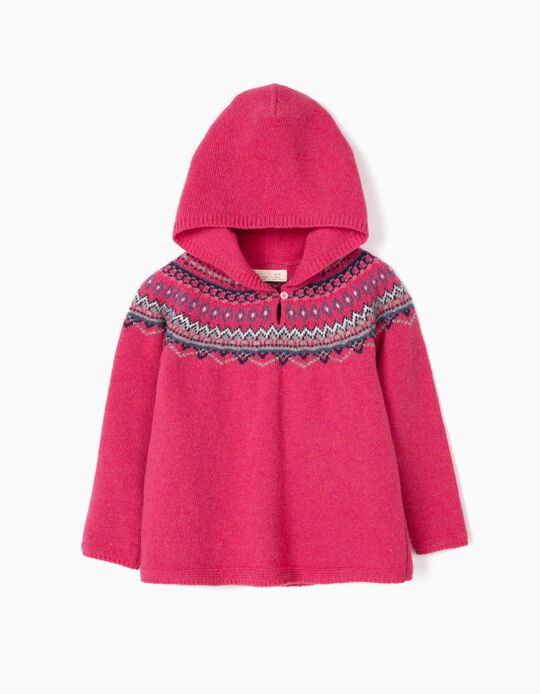 Camisola de Lã com Capuz para Menina, Rosa