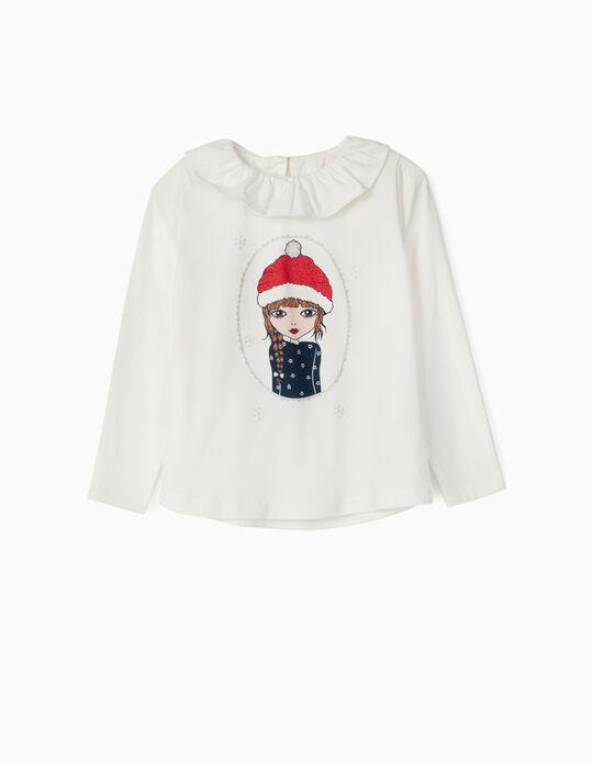 T-shirt Manga Comprida para Menina 'Christmas Girl', Branco