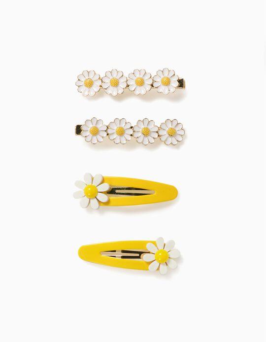 2 Hair Slides + 2 Hair Clips for Girls 'Daisy', White/Yellow