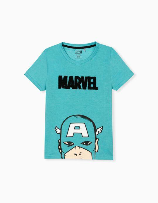 Captain America T-shirt, Kids, Light Blue