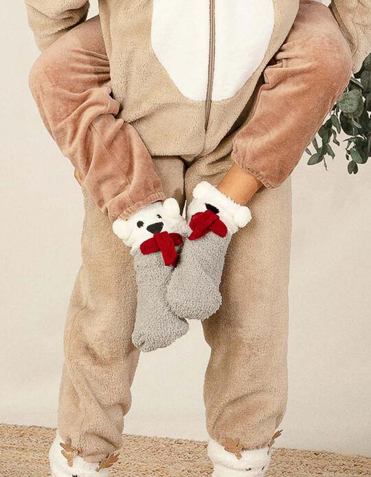 Fluffy Socks for Kids 'Christmas Bear', White/Grey