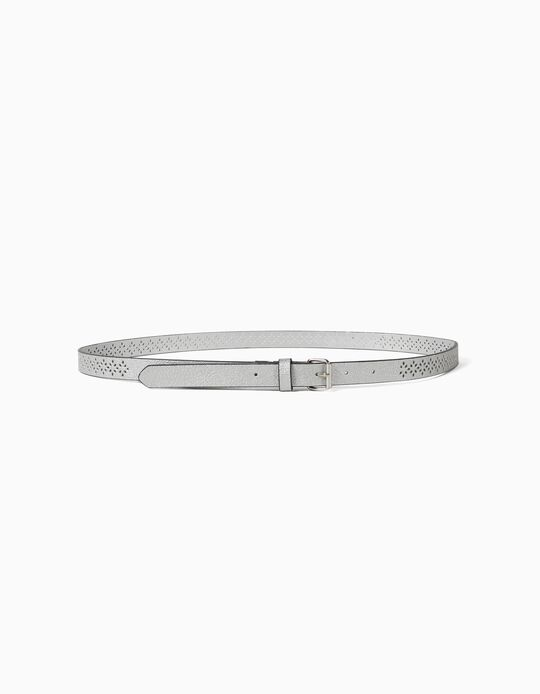Textured Silvery Belt, Women