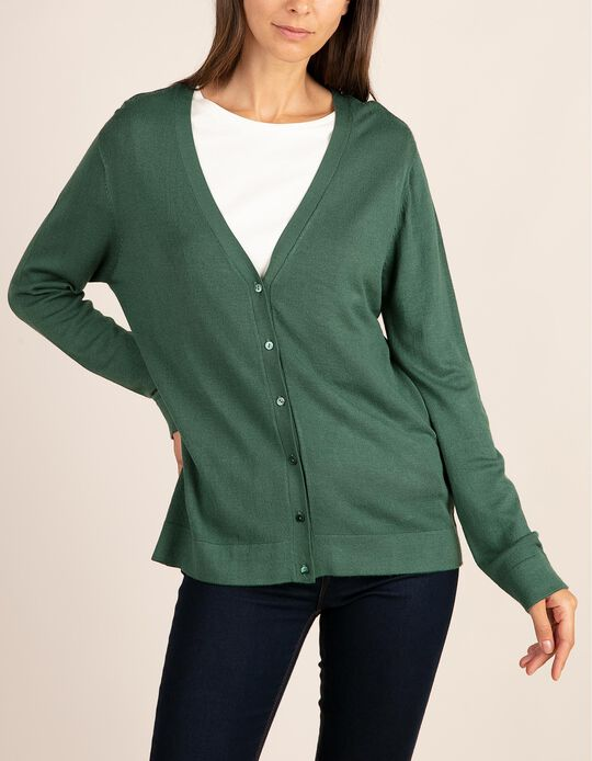 V-neck cardigan. Part of the Essentials collection.