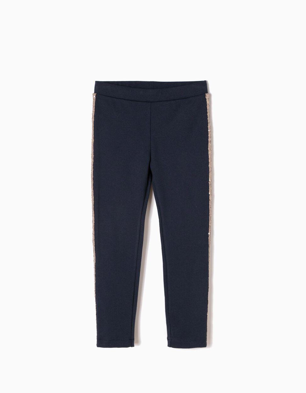 Calças Jersey Azuis com Lantejoulas