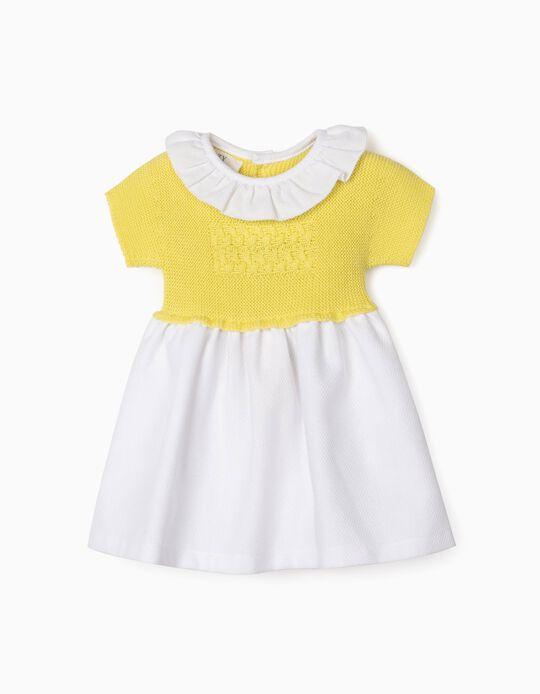 Vestido Combinado para Recém-Nascida, Amarelo/Branco