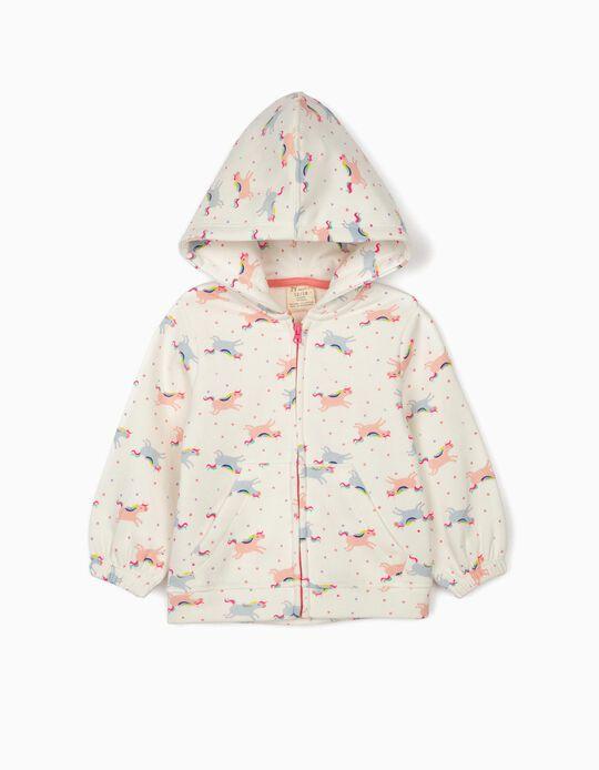 Hooded Jacket for Baby Girls 'Unicorns', White