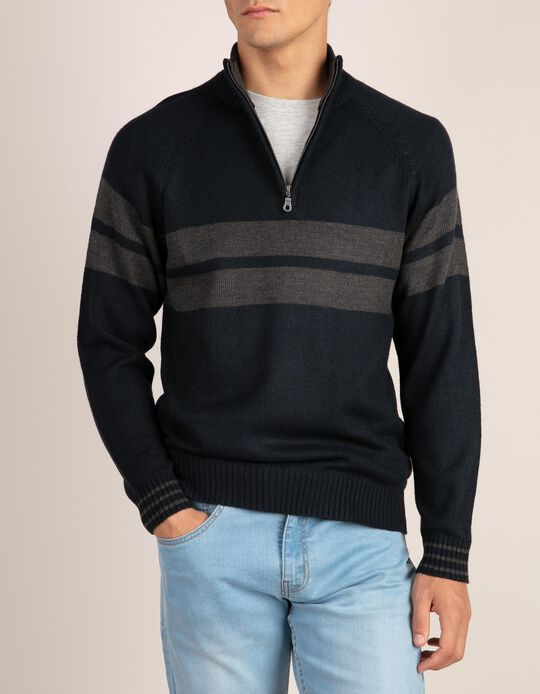 High neck striped jumper