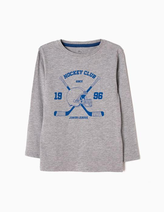 T-shirt Manga Comprida Hockey Cinzenta