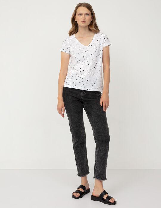T-shirt às Bolinhas, Mulher, Branco