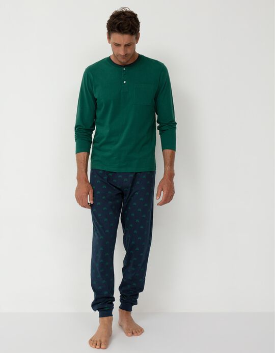 Pijama para Homem, Verde/ Azul