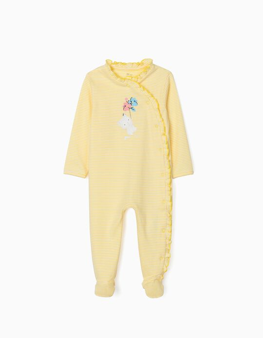 Striped Sleepsuit for Baby Girls, 'Cute Cat', Yellow