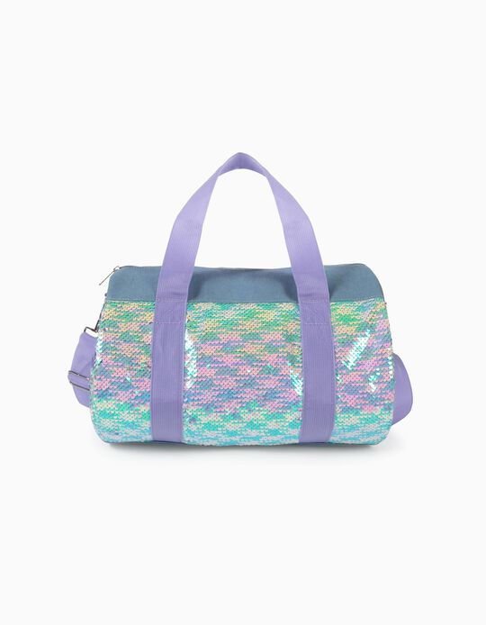 Sports Bag with Sequins for Girls, Blue/Lilac