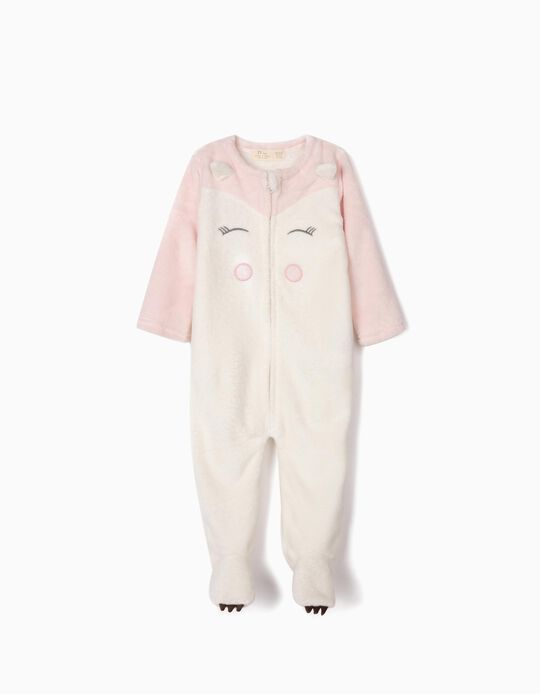 Onesie for Baby Girls, White/Pink
