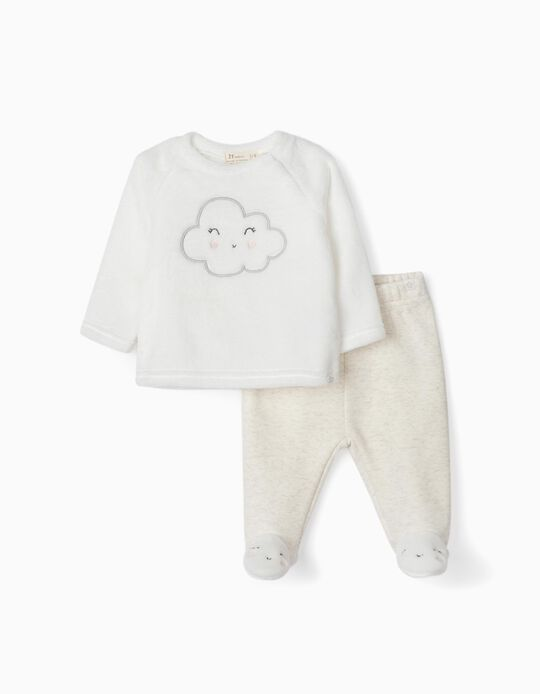 Sweatshirt & Trousers for Newborn Baby Girls, 'Cloud', White/Grey
