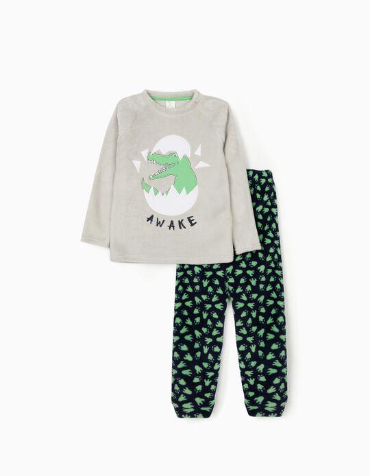Minky Fabric Pyjamas for Boys 'Dino Awake', Grey/Blue