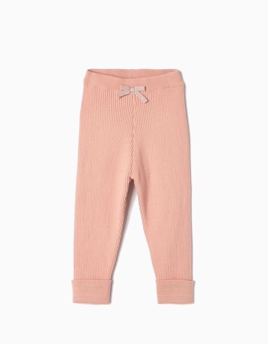 Ribbed Knit Trousers for Baby Girls, Pink