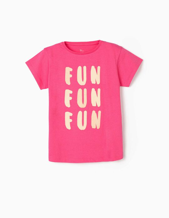 T-shirt for Girls, 'Fun Fun Fun', Pink