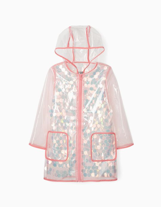 Hooded Parka with Sequins for Girls, Transparent
