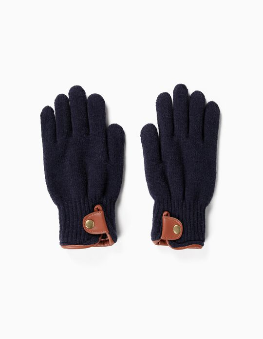 Knitted gloves with trim