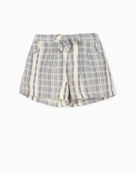 Striped Shorts for Girls, 'B&S', White/Blue